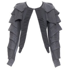 TOGA ARCHIVES grey wool knitted armour petal sleeves ribbed cardigan sweater JP1