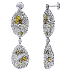 Together 14.77 Carat Diamonds, 18 Karat White Gold, Earrings