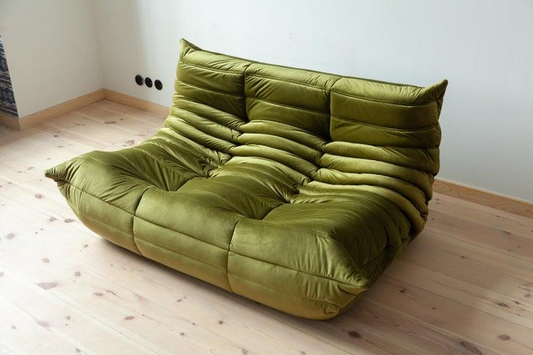 Togo 2-Seat Sofa in Green Velvet by Michel Ducaroy for Ligne Roset For Sale 4