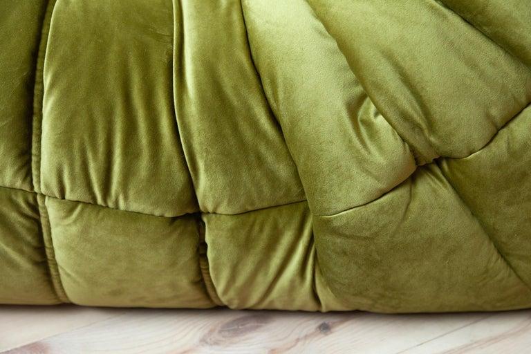 Togo 2-Seat Sofa in Green Velvet by Michel Ducaroy for Ligne Roset For Sale 6