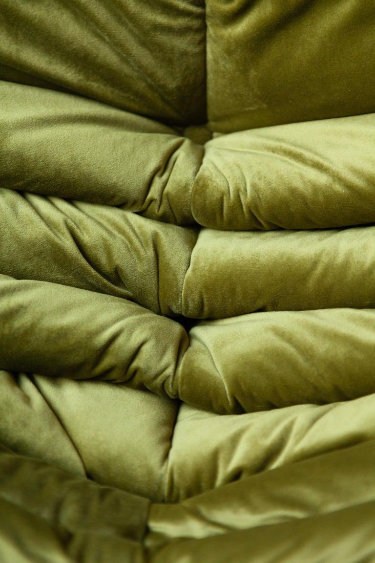 Togo 2-Seat Sofa in Green Velvet by Michel Ducaroy for Ligne Roset For Sale 7