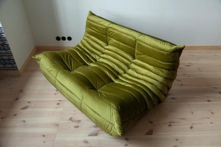 Mid-Century Modern Togo 2-Seat Sofa in Green Velvet by Michel Ducaroy for Ligne Roset For Sale