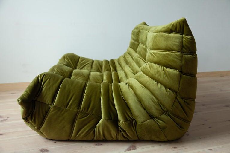 French Togo 2-Seat Sofa in Green Velvet by Michel Ducaroy for Ligne Roset For Sale