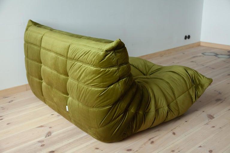 Togo 2-Seat Sofa in Green Velvet by Michel Ducaroy for Ligne Roset For Sale 1