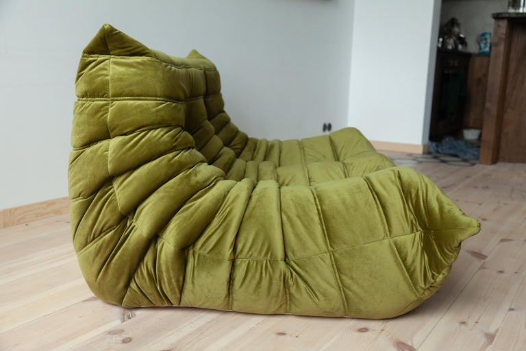Togo 2-Seat Sofa in Green Velvet by Michel Ducaroy for Ligne Roset For Sale 2