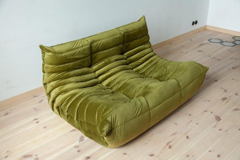 Togo 2-Seat Sofa in Green Velvet by Michel Ducaroy for Ligne Roset For Sale 3