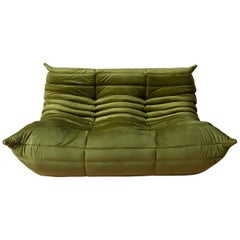 Togo 2-Seat Sofa in Green Velvet by Michel Ducaroy for Ligne Roset