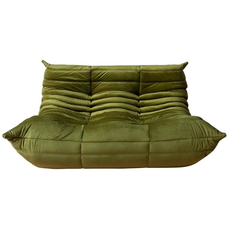 Togo 2-Seat Sofa in Green Velvet by Michel Ducaroy for Ligne Roset For Sale
