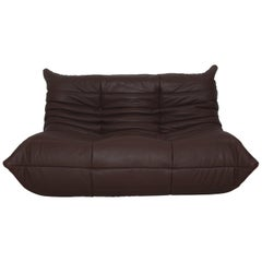 Togo 2-Seat Sofa in Madras Brown Leather by Michel Ducaroy for Ligne Roset