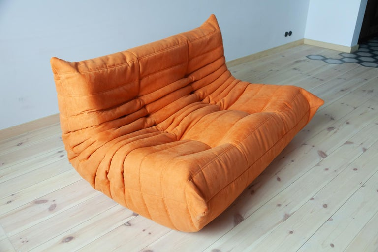 Togo 2-Seat Sofa in Orange Microfibre by Michel Ducaroy for Ligne Roset For Sale 8