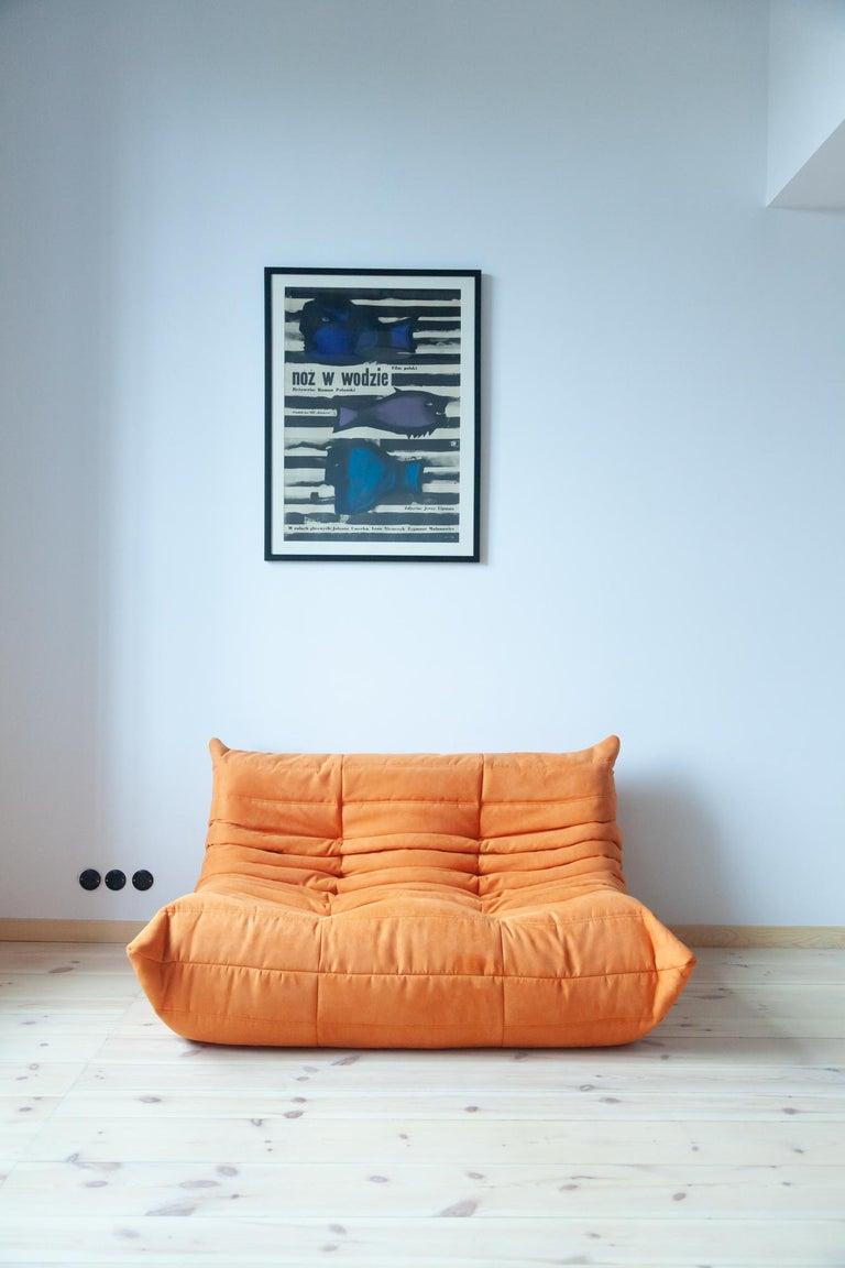 Togo 2-Seat Sofa in Orange Microfibre by Michel Ducaroy for Ligne Roset For Sale 10