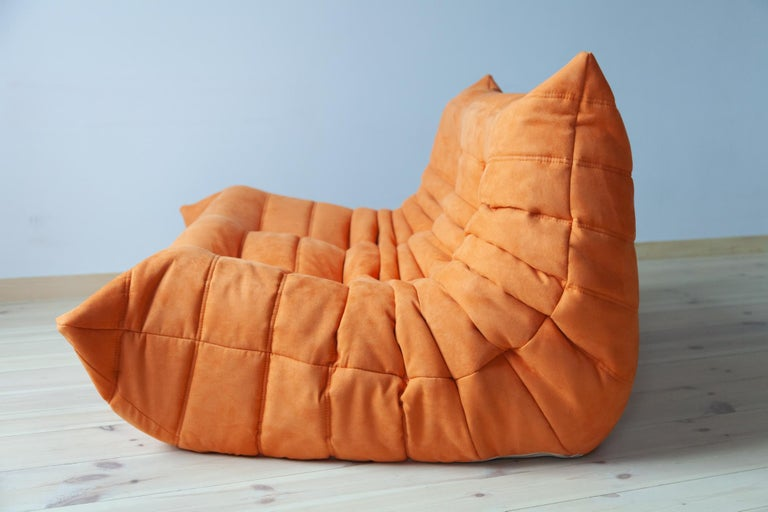 French Togo 2-Seat Sofa in Orange Microfibre by Michel Ducaroy for Ligne Roset For Sale