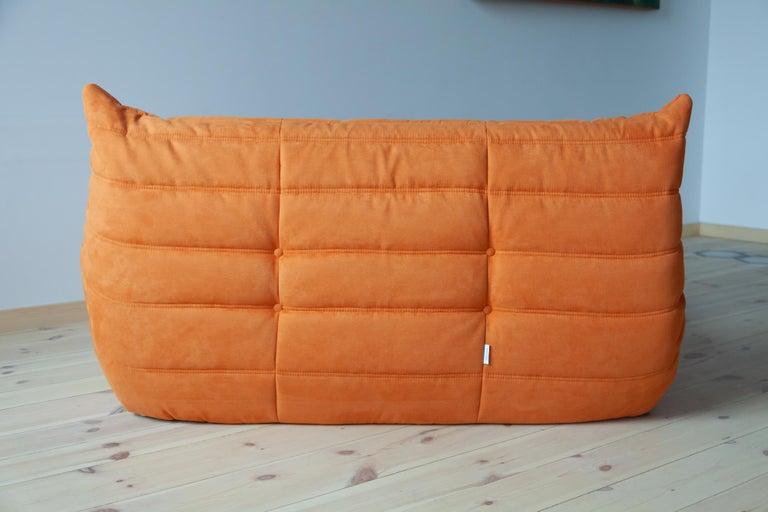 Fabric Togo 2-Seat Sofa in Orange Microfibre by Michel Ducaroy for Ligne Roset For Sale