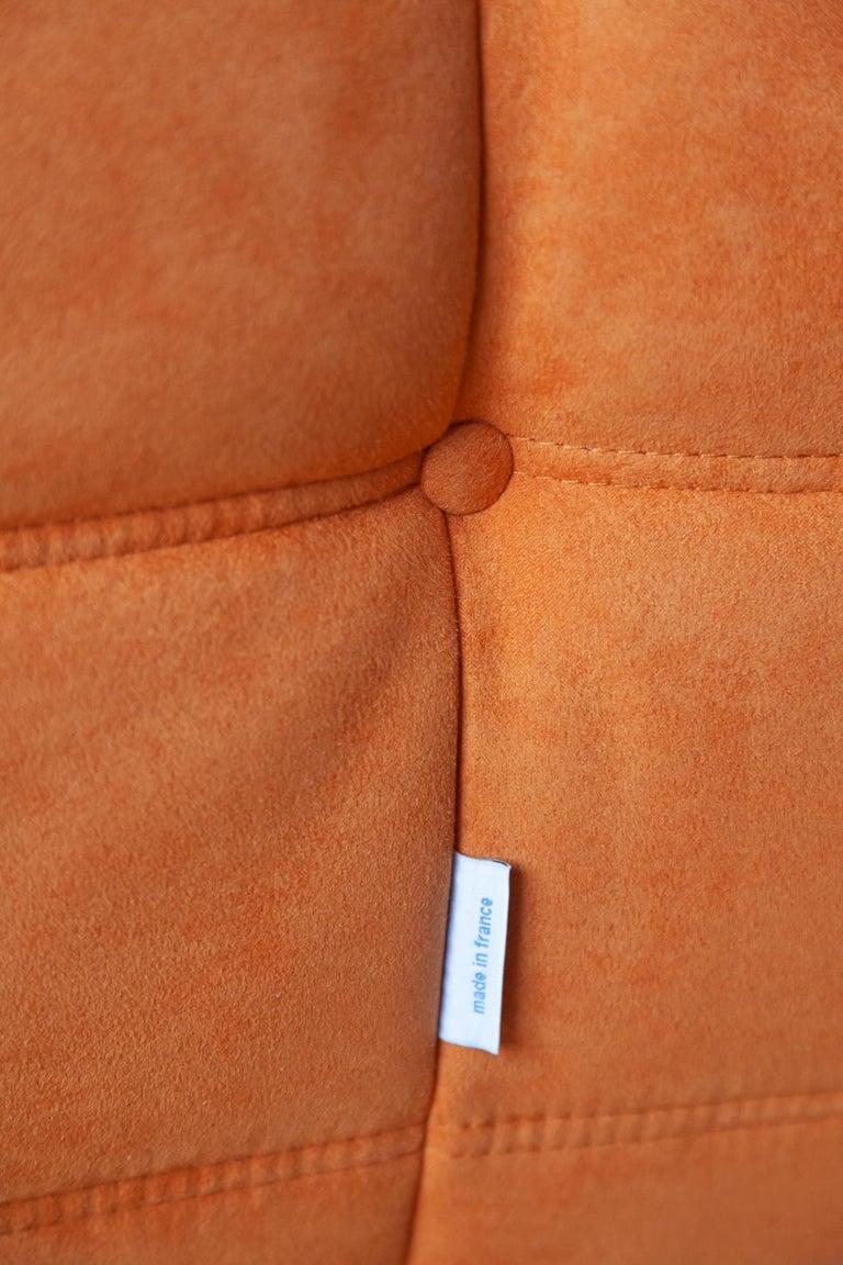 Togo 2-Seat Sofa in Orange Microfibre by Michel Ducaroy for Ligne Roset For Sale 1