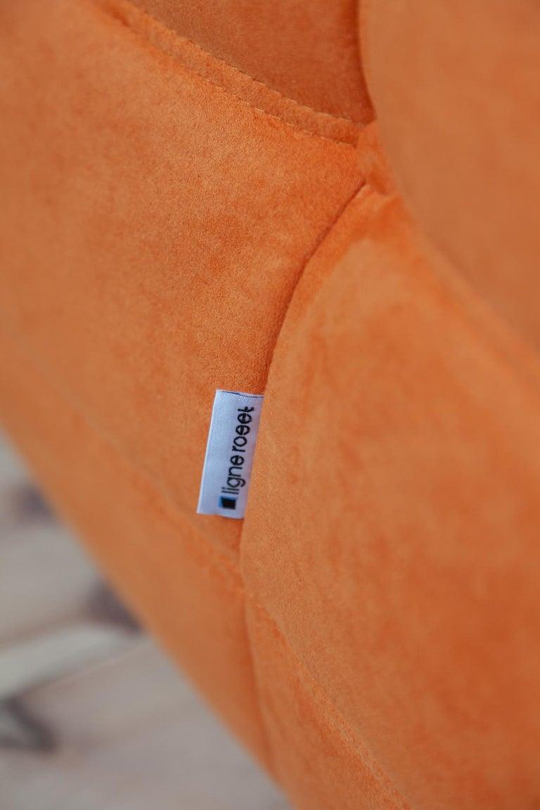 Togo 2-Seat Sofa in Orange Microfibre by Michel Ducaroy for Ligne Roset For Sale 2