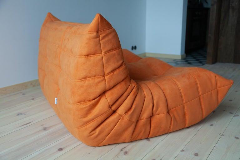 Togo 2-Seat Sofa in Orange Microfibre by Michel Ducaroy for Ligne Roset For Sale 3