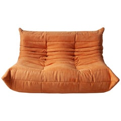 Togo 2-Seat Sofa in Orange Microfibre by Michel Ducaroy for Ligne Roset