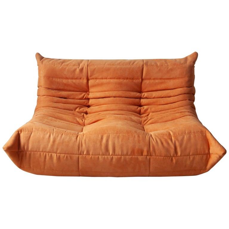 Togo 2-Seat Sofa in Orange Microfibre by Michel Ducaroy for Ligne Roset For Sale