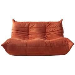 Togo 2-Seat Sofa in Orange Velvet by Michel Ducaroy for Ligne Roset