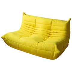 Togo 2-Seat Sofa in Yellow Microfibre by Michel Ducaroy for Ligne Roset