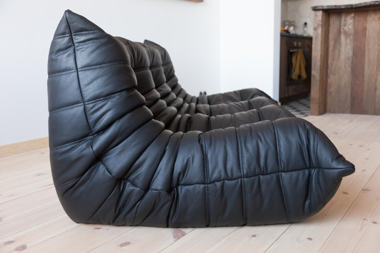 Togo 3-Seat Sofa in Black Leather by Michel Ducaroy for Ligne Roset For Sale 5