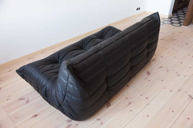 Togo 3-Seat Sofa in Black Leather by Michel Ducaroy for Ligne Roset For Sale 2