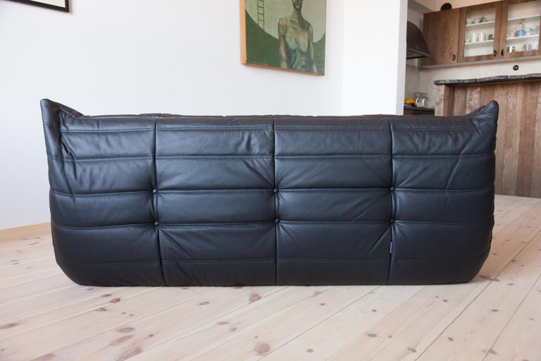 Togo 3-Seat Sofa in Black Leather by Michel Ducaroy for Ligne Roset For Sale 3