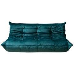 Togo 3-Seat Sofa in Blue-Green Velvet by Michel Ducaroy for Ligne Roset