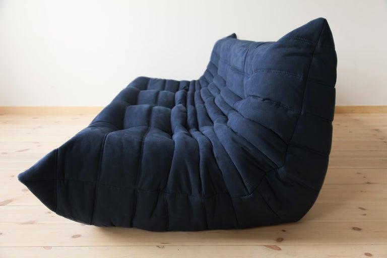 Mid-Century Modern Togo 3-Seat Sofa in Dark Blue Microfibre by Michel Ducaroy for Ligne Roset For Sale