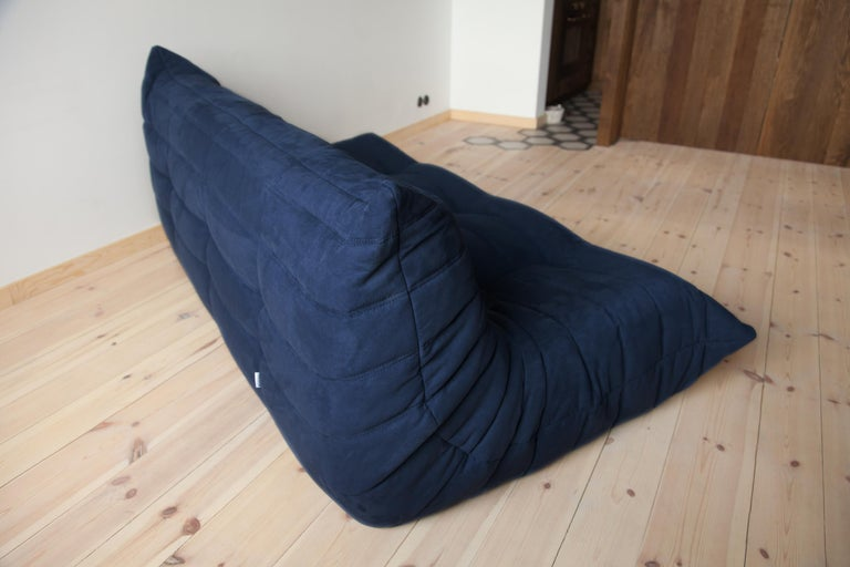 Late 20th Century Togo 3-Seat Sofa in Dark Blue Microfibre by Michel Ducaroy for Ligne Roset For Sale