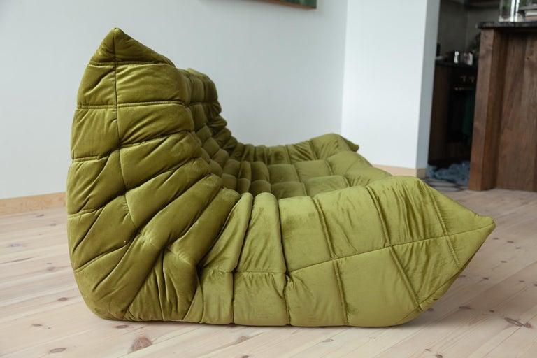 Togo 3-Seat Sofa in Green Velvet by Michel Ducaroy for Ligne Roset For Sale 4