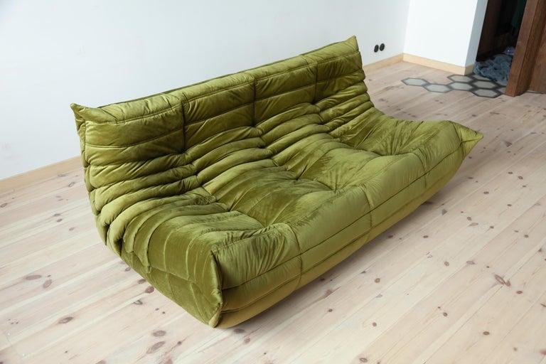 Togo 3-Seat Sofa in Green Velvet by Michel Ducaroy for Ligne Roset For Sale 5