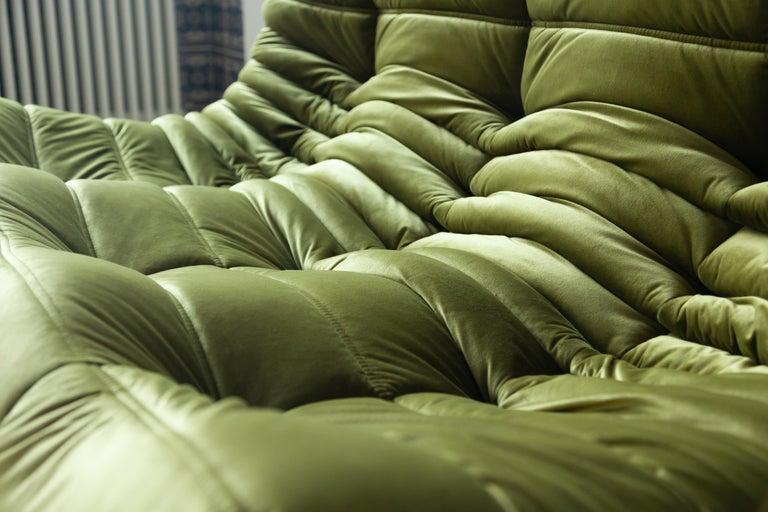 Togo 3-Seat Sofa in Green Velvet by Michel Ducaroy for Ligne Roset For Sale 6