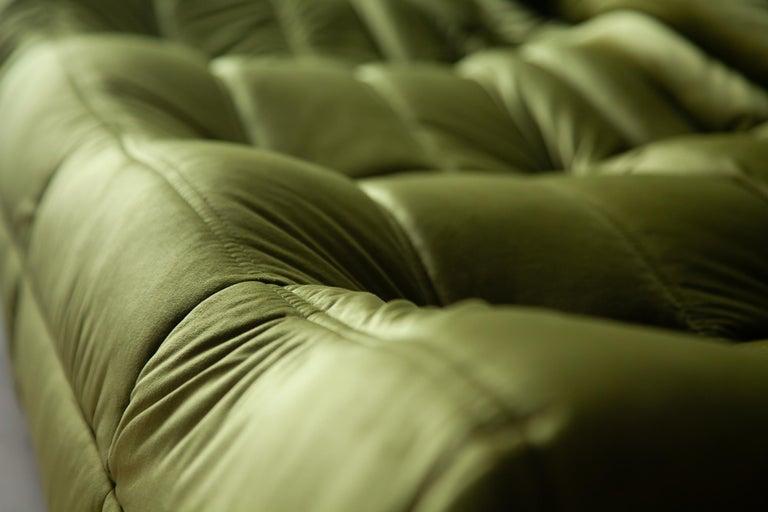 Togo 3-Seat Sofa in Green Velvet by Michel Ducaroy for Ligne Roset For Sale 7