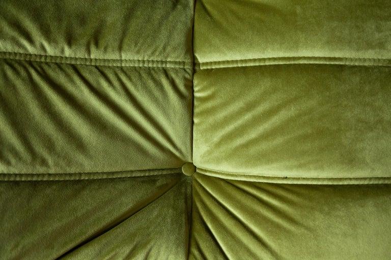 Togo 3-Seat Sofa in Green Velvet by Michel Ducaroy for Ligne Roset For Sale 8