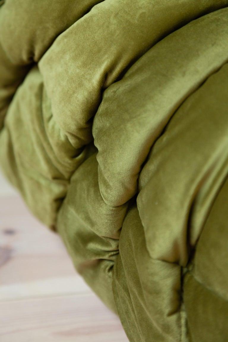 Togo 3-Seat Sofa in Green Velvet by Michel Ducaroy for Ligne Roset For Sale 11