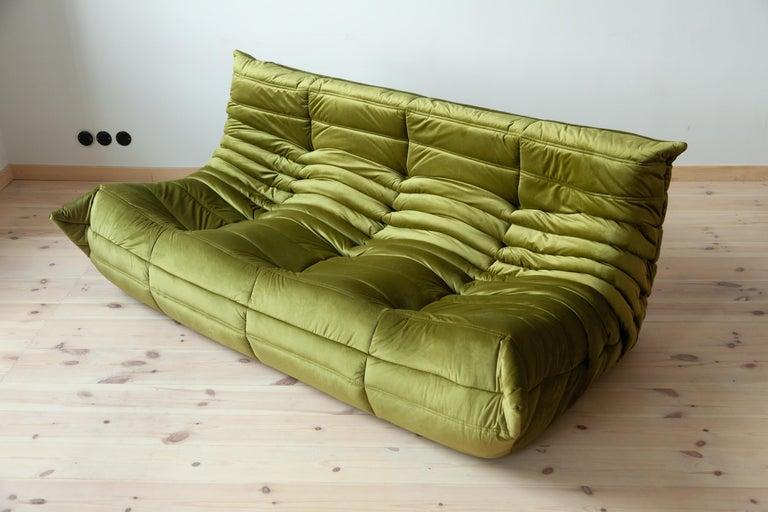 Mid-Century Modern Togo 3-Seat Sofa in Green Velvet by Michel Ducaroy for Ligne Roset For Sale