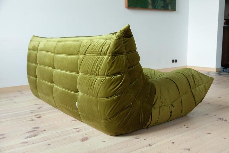 Togo 3-Seat Sofa in Green Velvet by Michel Ducaroy for Ligne Roset For Sale 1