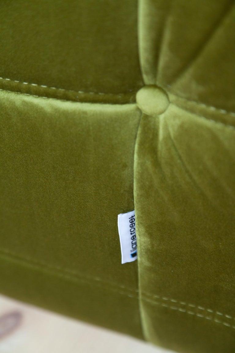 Togo 3-Seat Sofa in Green Velvet by Michel Ducaroy for Ligne Roset For Sale 2
