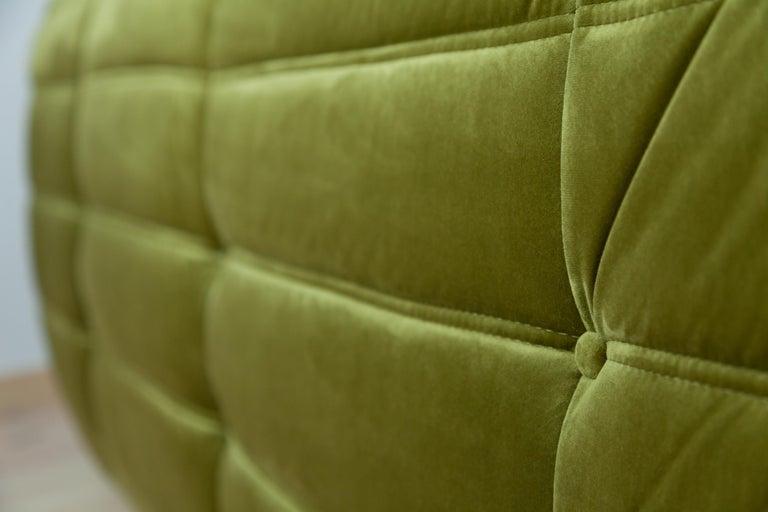 Togo 3-Seat Sofa in Green Velvet by Michel Ducaroy for Ligne Roset For Sale 3