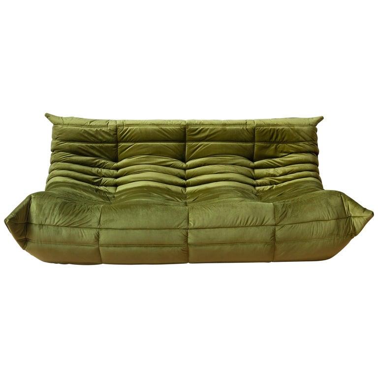 Togo 3-Seat Sofa in Green Velvet by Michel Ducaroy for Ligne Roset For Sale