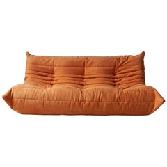 Togo 3-Seat Sofa in Orange Microfibre by Michel Ducaroy for Ligne Roset