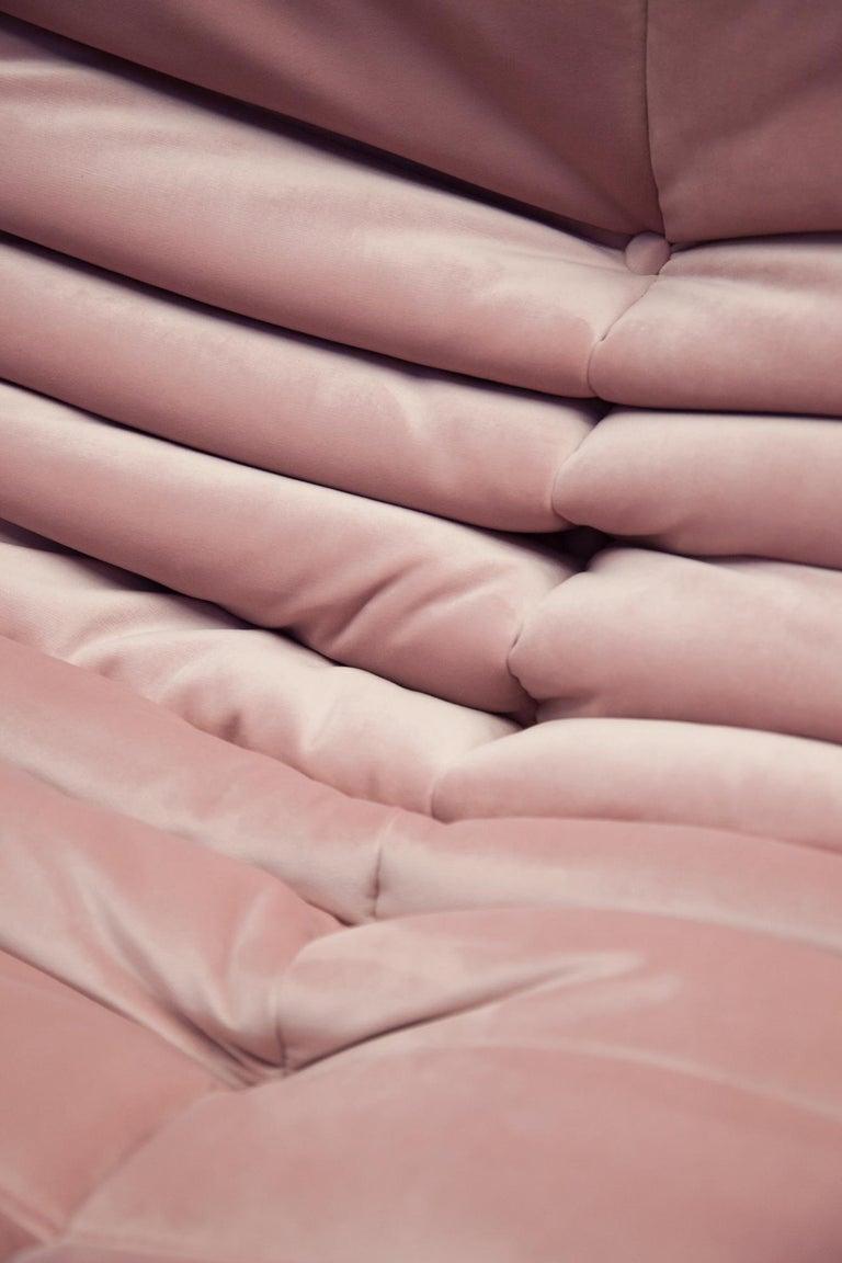 Togo 3-Seat Sofa in Pink Velvet by Michel Ducaroy for Ligne Roset For Sale 4