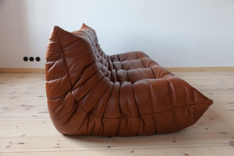 Togo 3-Seat Sofa in Whiskey Leather by Michel Ducaroy for Ligne Roset For Sale 4