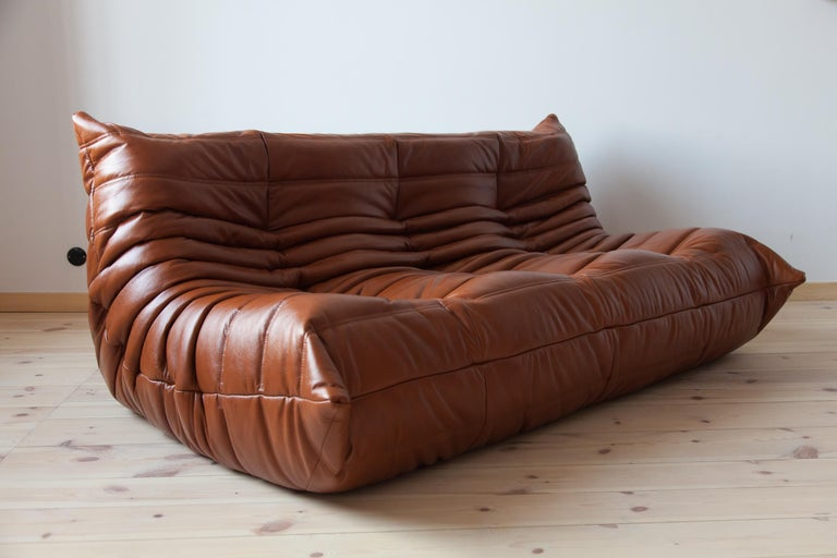 Togo 3-Seat Sofa in Whiskey Leather by Michel Ducaroy for Ligne Roset For Sale 5