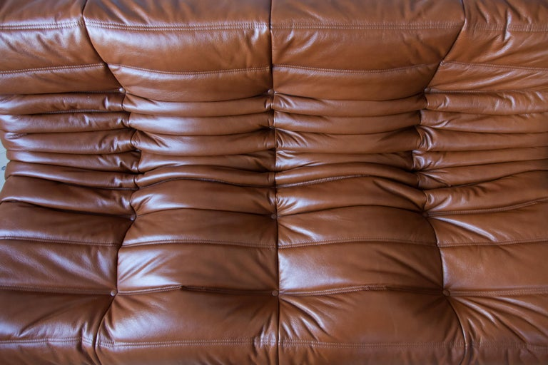 Togo 3-Seat Sofa in Whiskey Leather by Michel Ducaroy for Ligne Roset For Sale 7