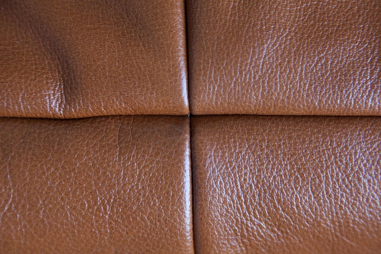 Togo 3-Seat Sofa in Whiskey Leather by Michel Ducaroy for Ligne Roset For Sale 9