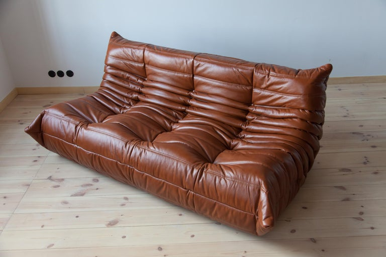 Mid-Century Modern Togo 3-Seat Sofa in Whiskey Leather by Michel Ducaroy for Ligne Roset For Sale