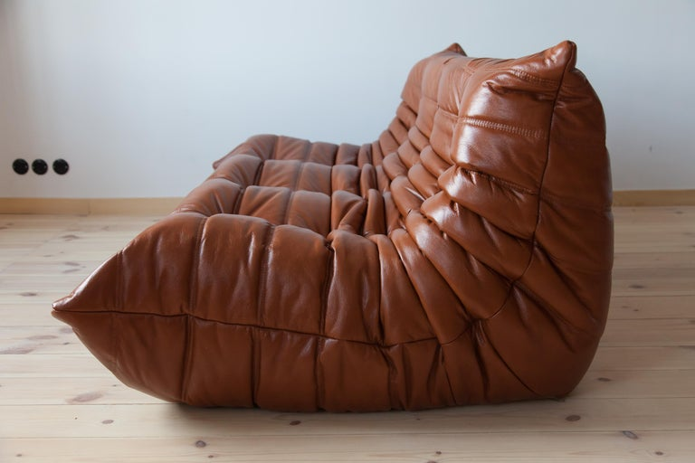 French Togo 3-Seat Sofa in Whiskey Leather by Michel Ducaroy for Ligne Roset For Sale