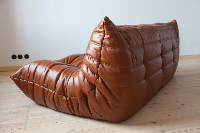 Togo 3-Seat Sofa in Whiskey Leather by Michel Ducaroy for Ligne Roset For Sale 1